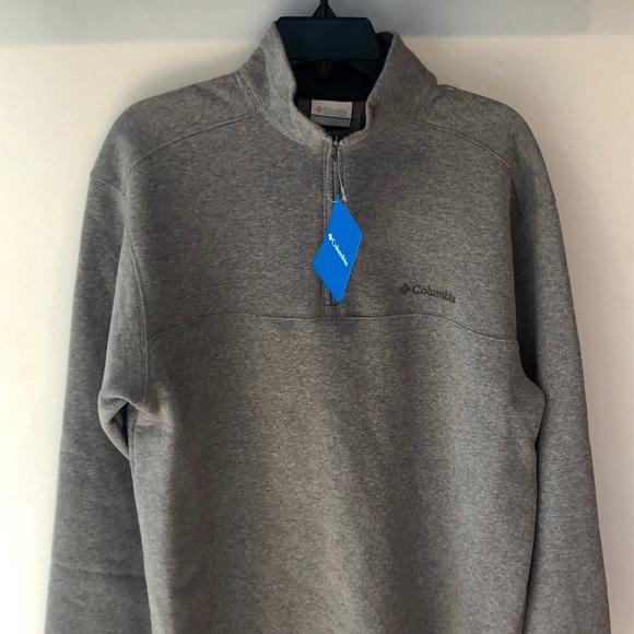 Columbia Mens Pine Ridge Fleece Half Zip Size M Medium Gray